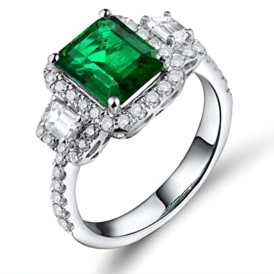 a2845d11582d6 Lanmi Beautiful Natural Green Emerald Diamonds Engagement Ring Solid 14K  White Gold Wedding Rings for Ladies Women Mother