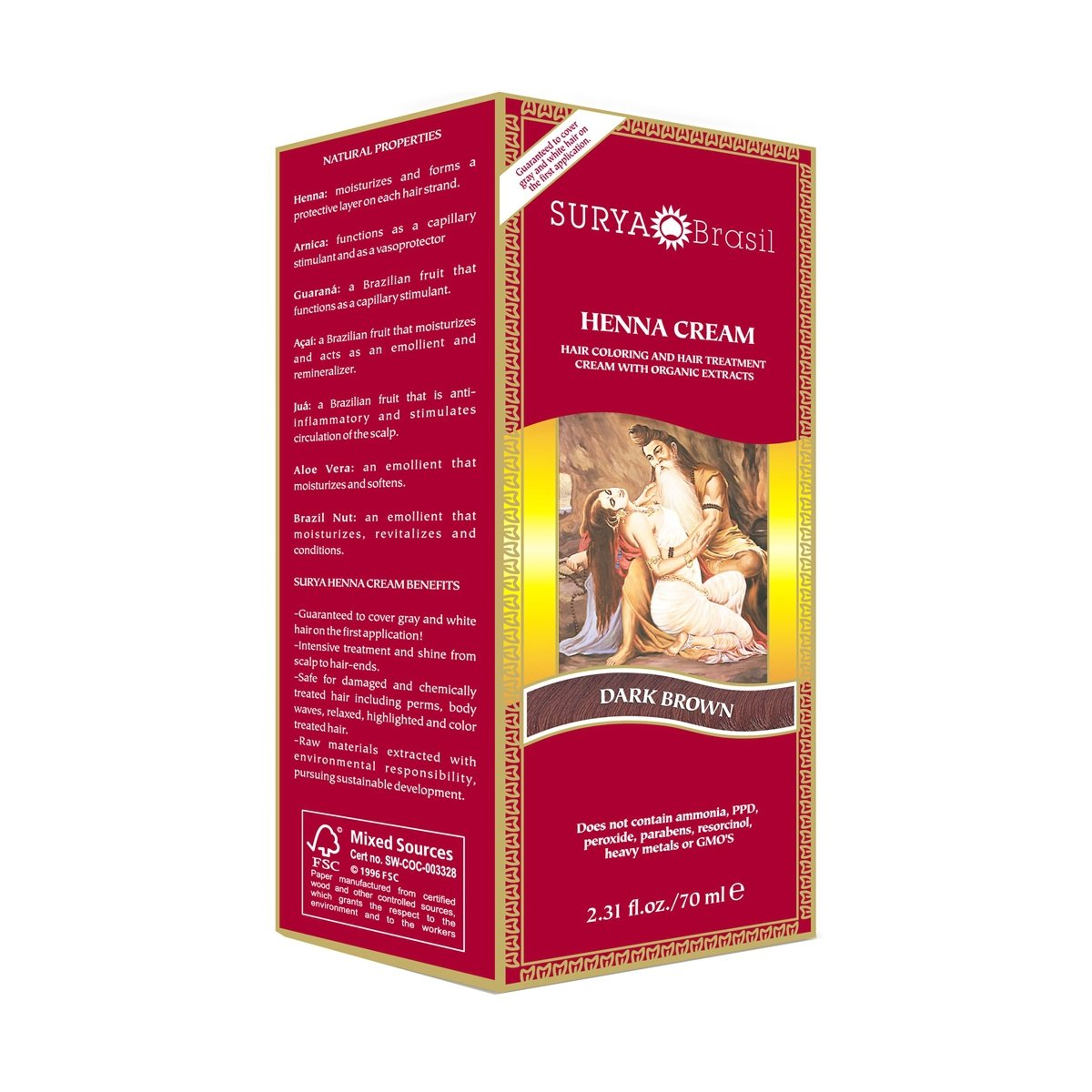 Surya Brasil: Natural Henna Cream, Dark Brown 2.31 oz (6 pack)