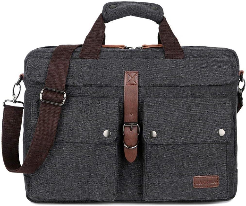 BAOSHA BC-07 17inch Canvas Laptop Computer Bag Messenger Bag Multicompartment Briefcase Black