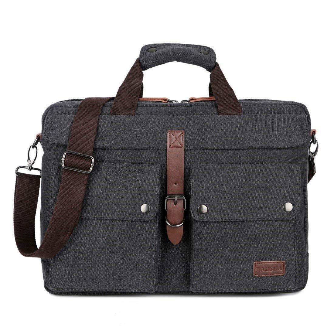 BAOSHA BC-07 17inch Canvas Laptop Computer Bag Messenger Bag Multicompartment Briefcase (Black) by Baosha