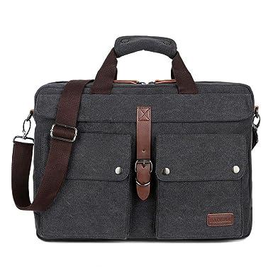 BAOSHA BC-07 17inch Canvas Laptop Computer Bag Messenger Bag  Multicompartment Briefcase (Black) 4b1393da7fe