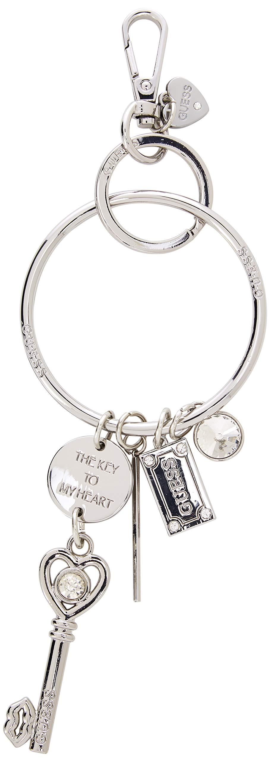 Guess Not Coordinated Keychain, Women's Portable Handbag Hanger, Silver, 8x18x1 cm (W x H L)