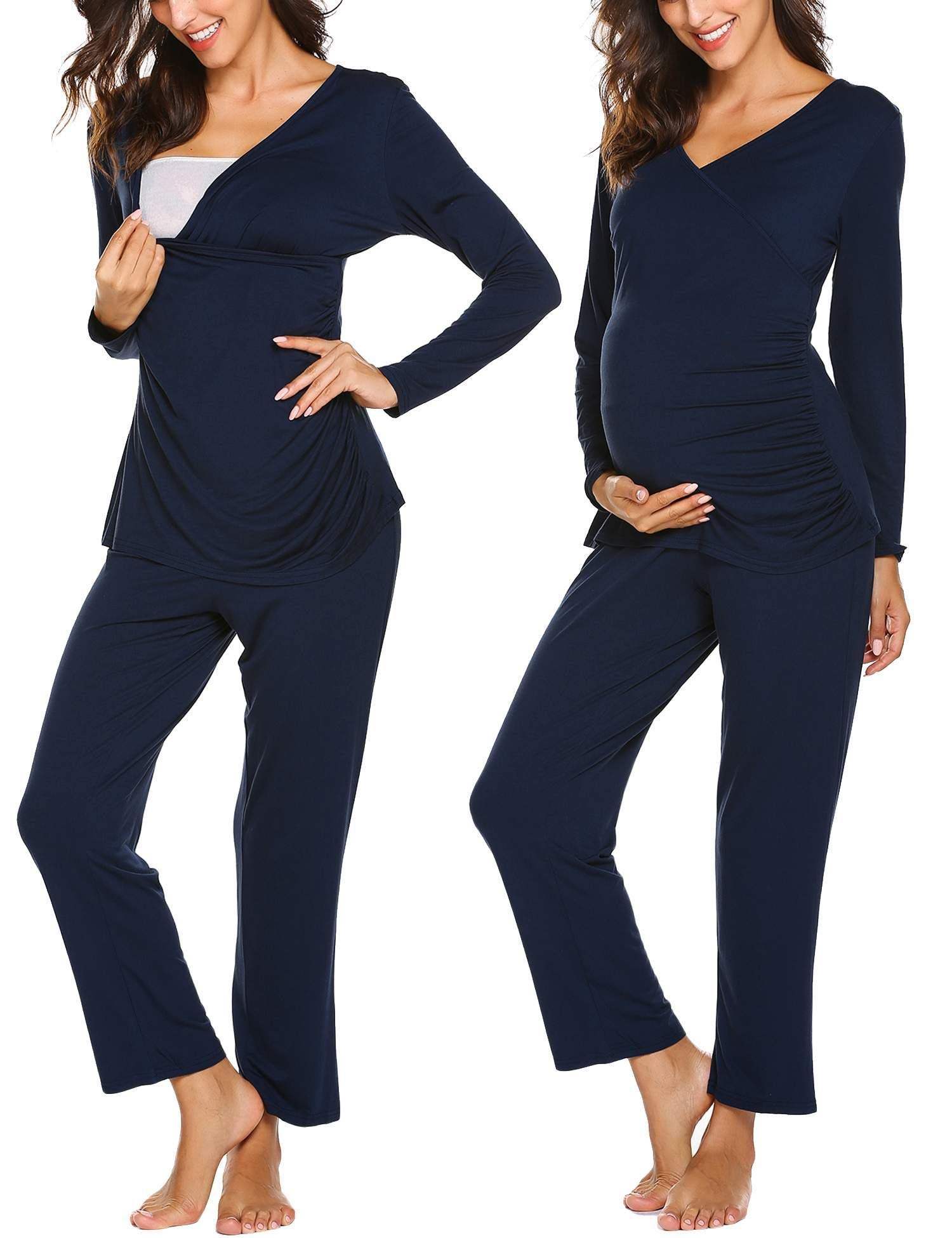 Ekouaer Women's Maternity & Nursing Pajamas Sleepwear Set Soft Pregnancy Breastfeeding Pj Set(S-XXL)
