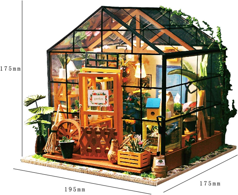 Maison De Fleur De Cathy QULONG DIY en Bois Dollhouse Miniature Kit De Serre 3D Kits Dartisanat avec Housse De Protection pour Adultes Anniversaire pour Femmes Et Filles