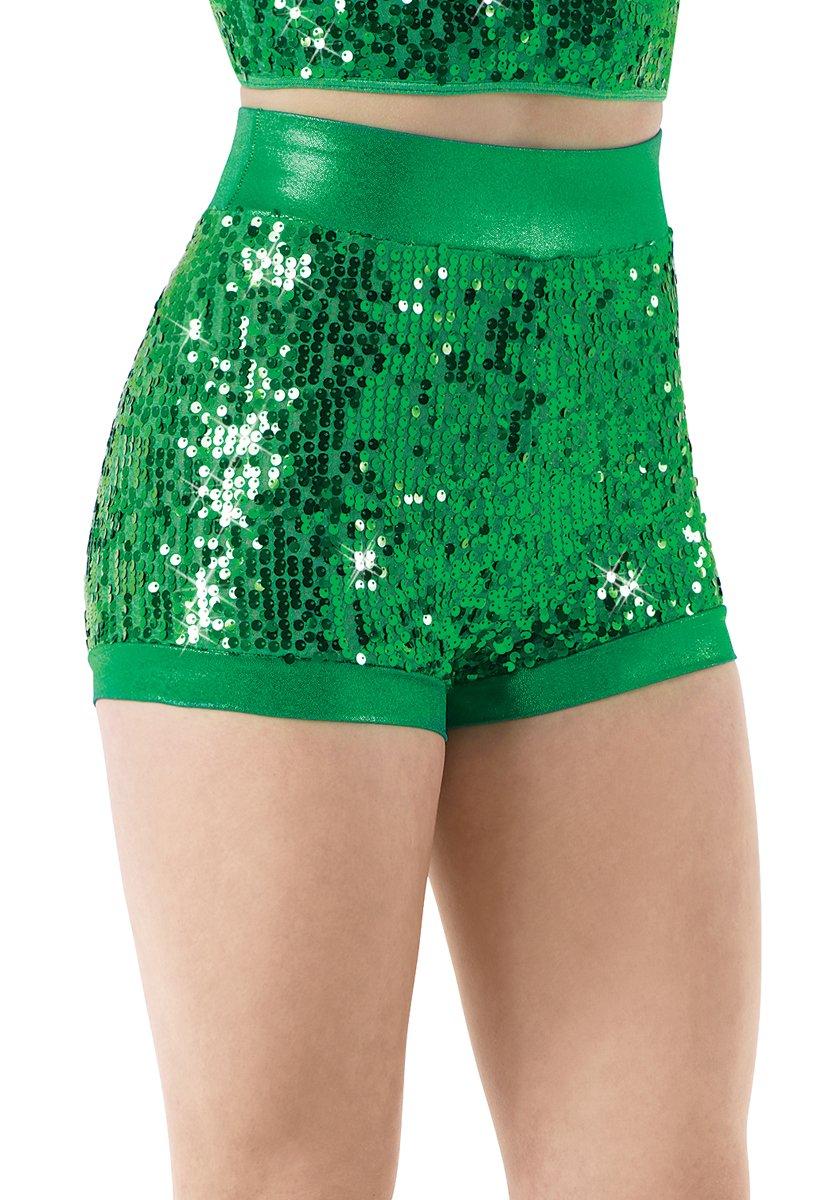 Balera Dance Shorts Ultra Sparkle With Metallic Trim Kelly Child Medium by Balera