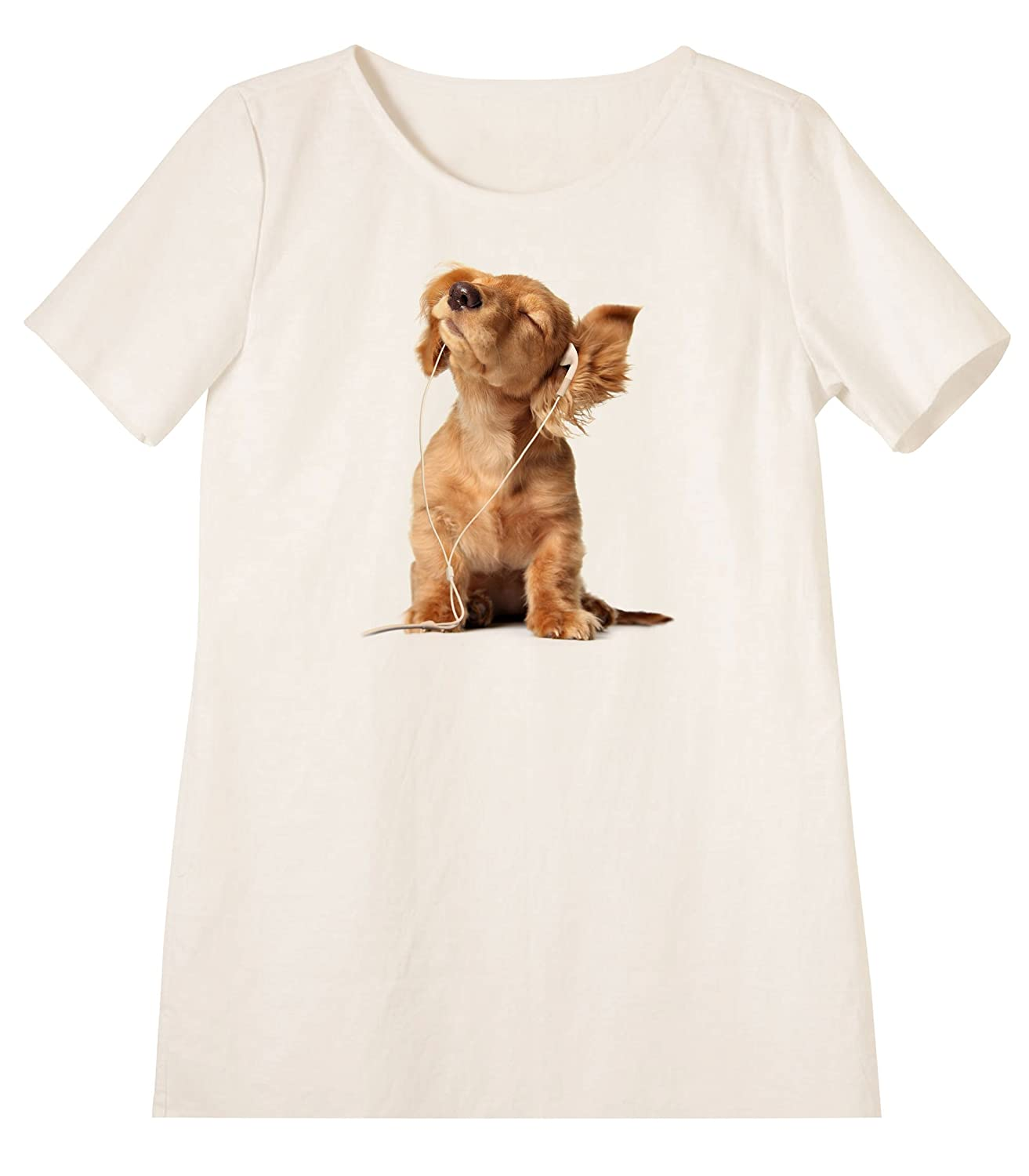 Clever Dogs Printed Linen Short Sleeves Vintage Mini Shift Dress WDS/_06