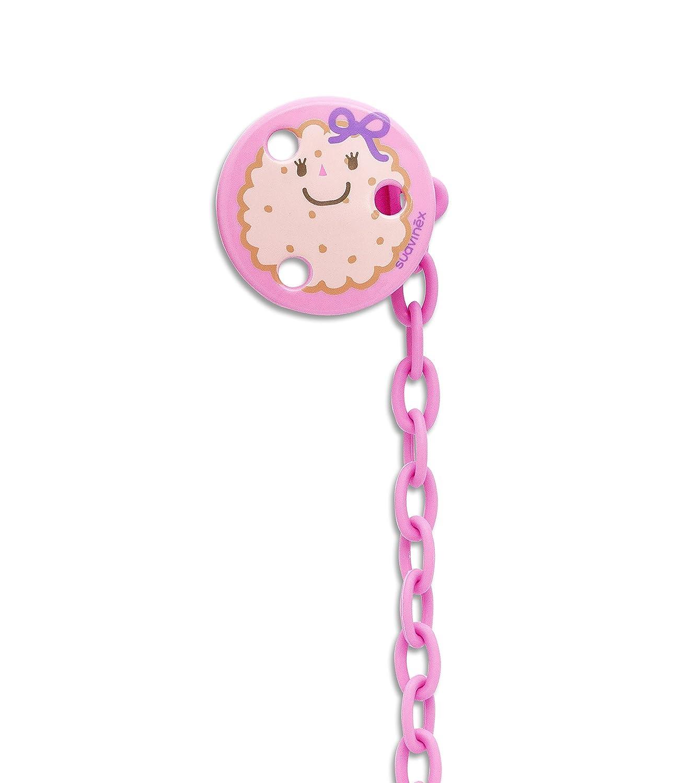 Suavinex, portachupetes en forma de galleta redonda rosa, ideal 303256