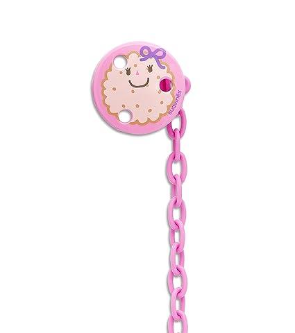 Suavinex, portachupetes en forma de galleta redonda rosa, ideal