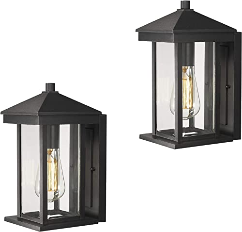 Zeyu Outdoor Wall Lantern 2 Pack, Porch Light Fixtures Wall Mount in Black Finish with Clear Glass, 0301-WD-BK-2PK