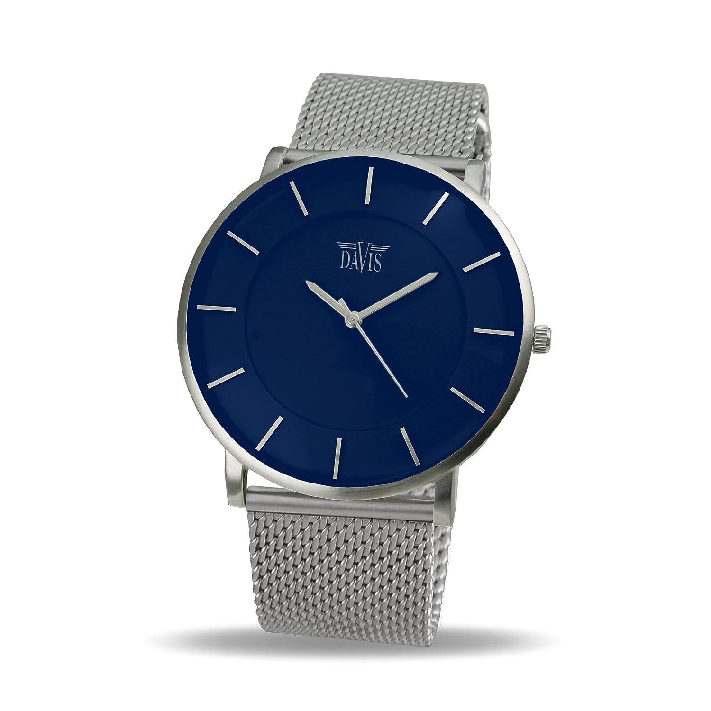 Davis 0915MB - Herren Damen Design Uhr GehÄuse Extraflach Ziffernblatt Blau Mesh Armband
