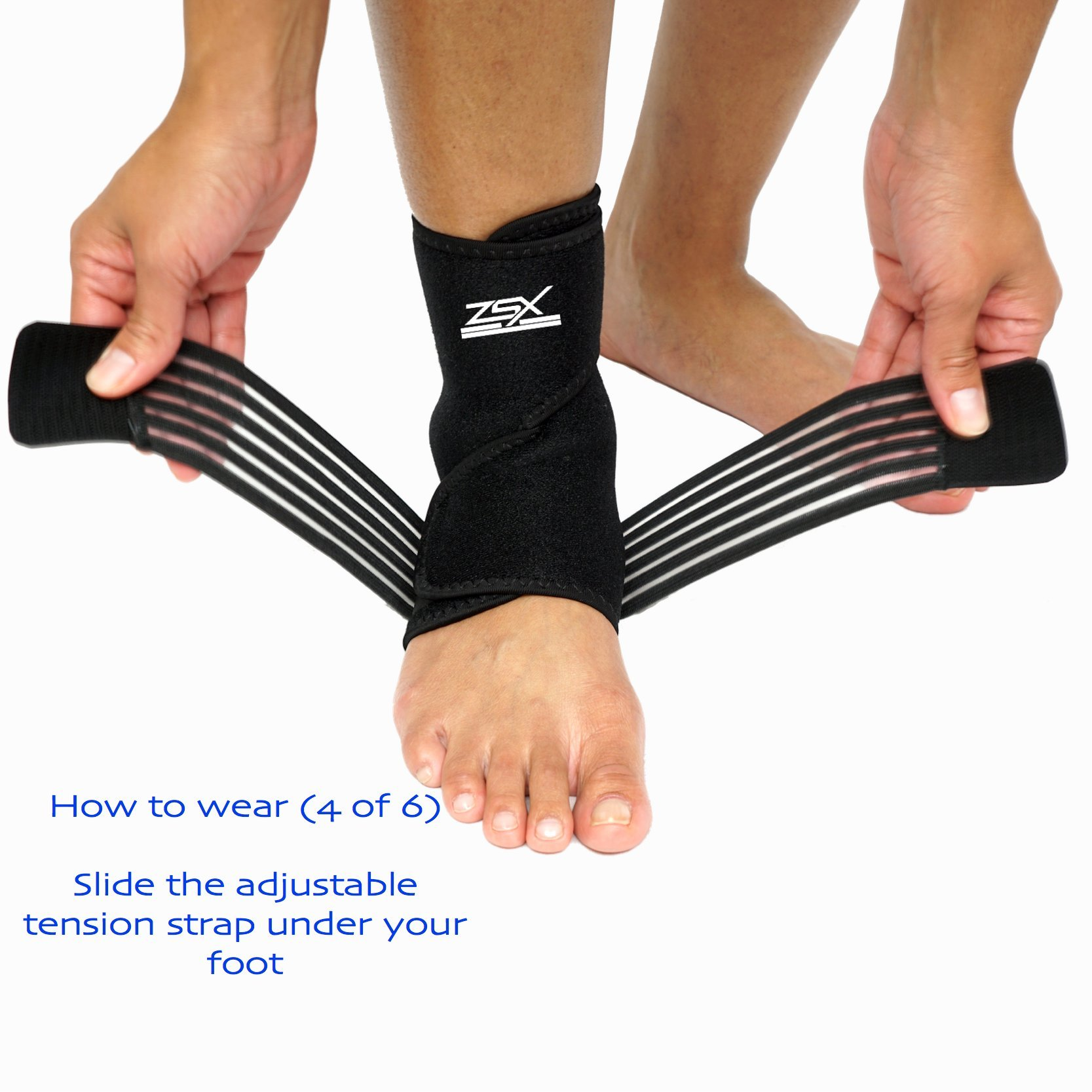 Ankle Brace (PAIR) with Bonus Straps, for Ankle Support, Plantar Fasciitis, or Swollen Ankles, One Size Fits Most, By ZSX SPORT (Foot Size - Reg) by ZSX (Image #6)