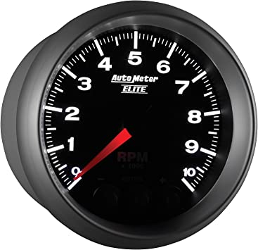 Auto Meter 5690 Elite Series 3-3//4 0-10000 RPM Pedestal Mount Street Progressive Shift Light Tach Tachometer