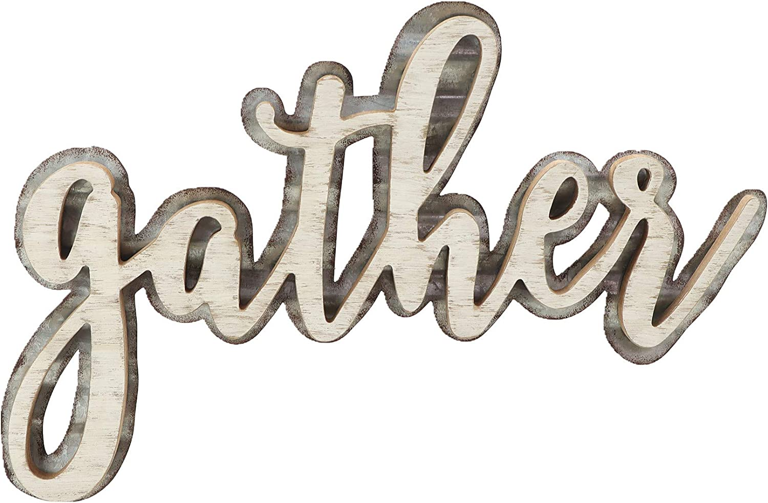 Paris Loft Gather Wood Metal Cutout Letter Signs for Home Decor|Rustic White Farmhouse Gather Hanging Signs for Kitchen 15.5x0.5x10.25''