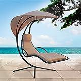 Swinging Sun Lounger, Hollywood Swing Chair / Sun Lounger with Sun Shade Canopy, Padded Cushion