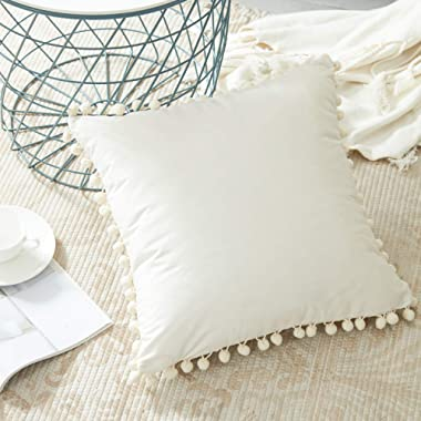 Top Finel Square Decorative Throw Pillow Covers with Pom Poms Soft Velvet Outdoor Cushion Covers 18 X 18 for Sofa Bed, Pack of 1, Cream