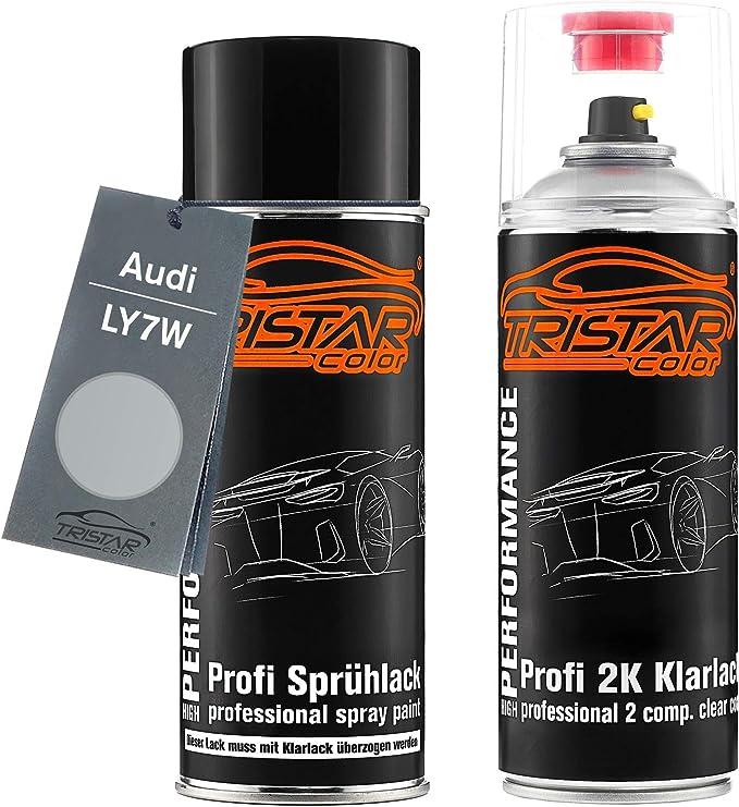 Tristarcolor Autolack 2k Spraydosen Set Für Audi Ly7w Silbersee Metallic Argent Metallic Basislack 2 Komponenten Klarlack Sprühdose Auto