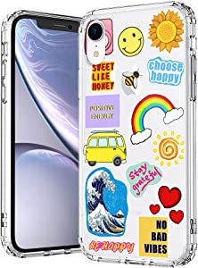 MOSNOVO Summer Vibes Pattern Designed for iPhone XR Case,Clear Case with Design,TPU Bumper with Protective Hard Case Cover