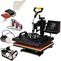 "SHZOND Heat Press 12""x 15"" 5 in 1 Combo Heat Transfer Machine Multifunctional Digital Transfer Sublimation Heat Press Machine for T Shirts/Hat/Mug/Plate/Cap (12x15 inch 5 in 1)"