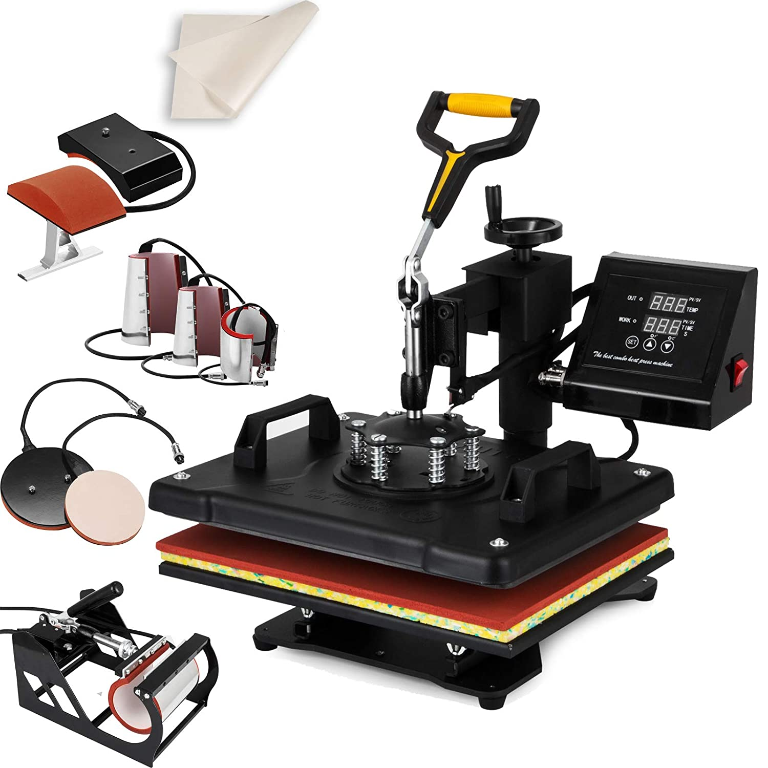 "SHZOND Heat Press 12""x 15"" 5 in 1 Combo Heat Transfer Machine Multifunctional Digital Transfer Sublimation Heat Press Machine for T Shirts/Hat/Mug/Plate/Cap (12x15 inch 5 in 1)"