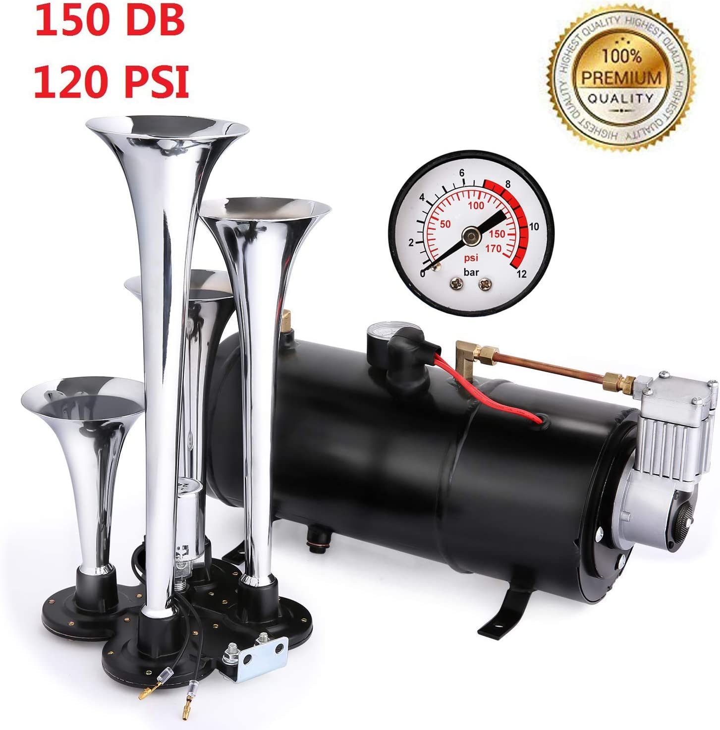 12V 150db Air Horn kit,Super Loud 18 Inches Chrome Zinc Single Trumpet Truck Air Horn with Compressor for Any Car Truck Lorry Train Boat /… black