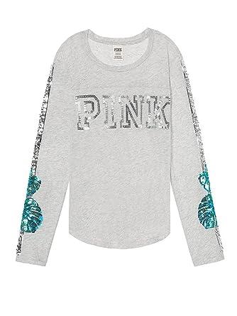 7c6355f71fbb9 Victoria's Secret Pink Bling Football Tee Shirt Long Sleeve Crew ...