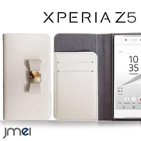 295b8dfba2 Xperia Z5 SO-01H SOV32 ケース 本革 JMEIレザーリボンフリップケース MUSA ホワイト