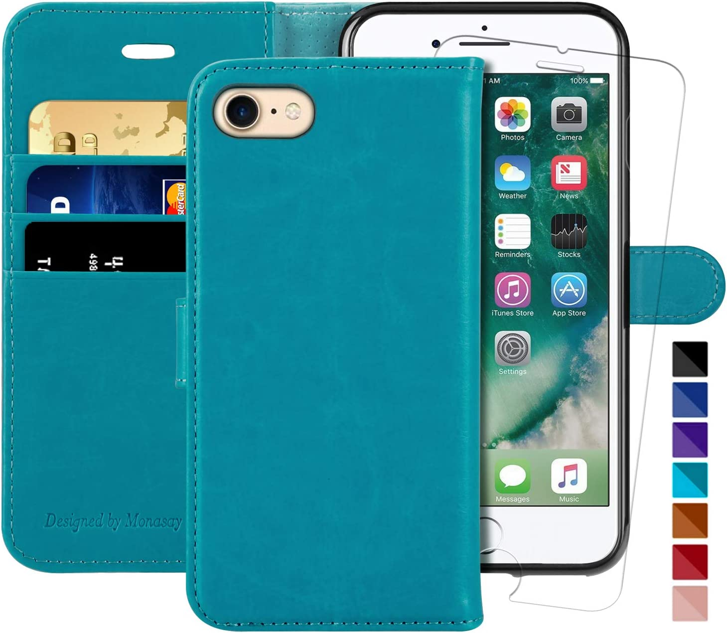 iPhone 6 Wallet Case/iPhone 6s Wallet Case,4.7-inch, MONASAY [Glass Screen Protector Included] Flip Folio Leather Cell Phone Cover with Credit Card Holder for Apple iPhone 6/6S (Light Blue)
