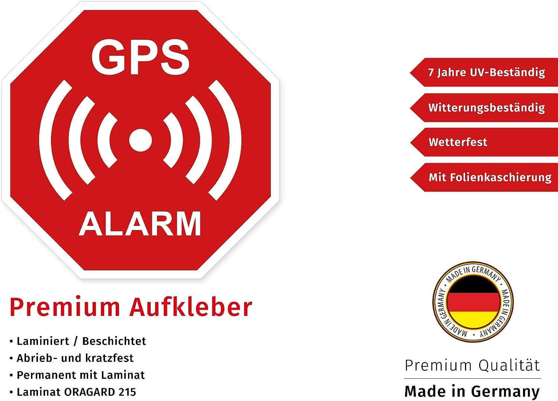 6 Premium Aufkleber GPS Alarm Sicherheit Hinweis Warnung Schild Rot Wetterfest UV-Best/ändig