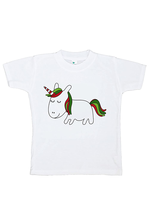 7 ate 9 Apparel Girls Christmas Unicorn T-Shirt