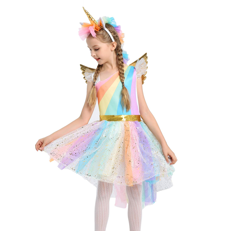347827c5eba1 Amazon.com  JiaDuo Girls Rainbow Unicorn Costume with Headband ...