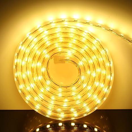 AveyLum LED Streifen Warmweiß 5M/16.4ft LED Lichtband Lichtleiste 2835 SMD  Wasserdicht LED Leisten mit EU Stecker für zu Hause Küche Festival ...