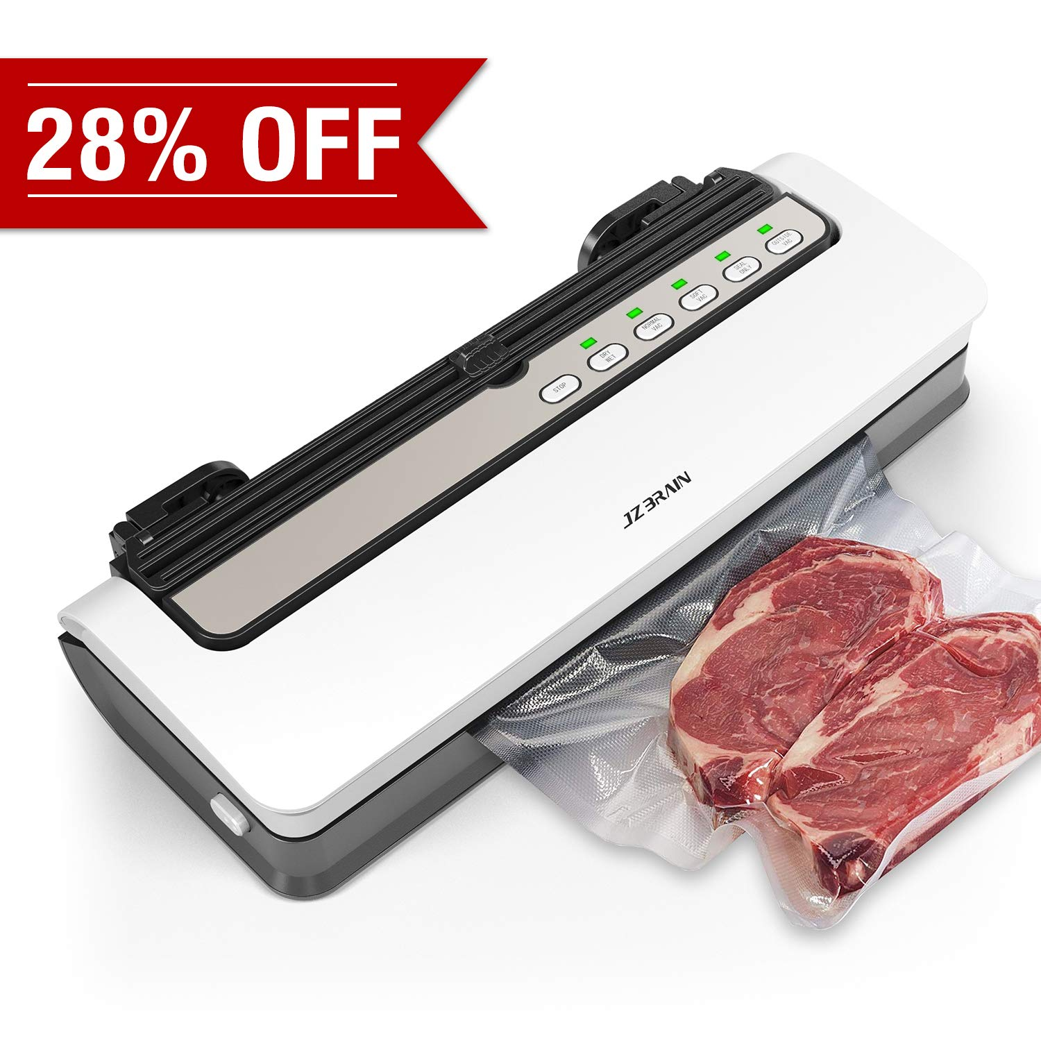 JZBRAIN Vacuum Sealer, Automatic Air Sealing Machine For Food Saver, Compact Design,Lab Tested,Dry & Moist Food Modes by JZBRAIN