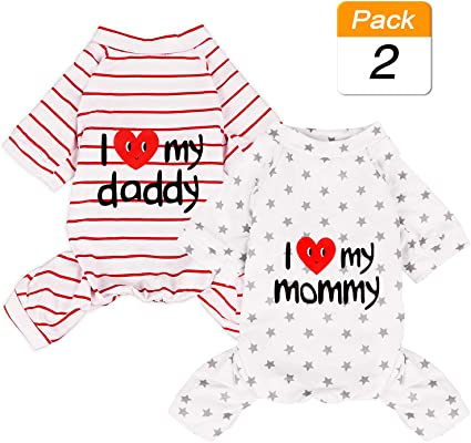 Grey Stars//Red Stripes 2-Pack Cotton Dog Pajamas Lightweight Dog Onesies for Small Medium Dogs and Cats Puppy Body Suits Cute Baby Dog Jumpsuit I Love My Mommy//Daddy Printed Pet Clothes