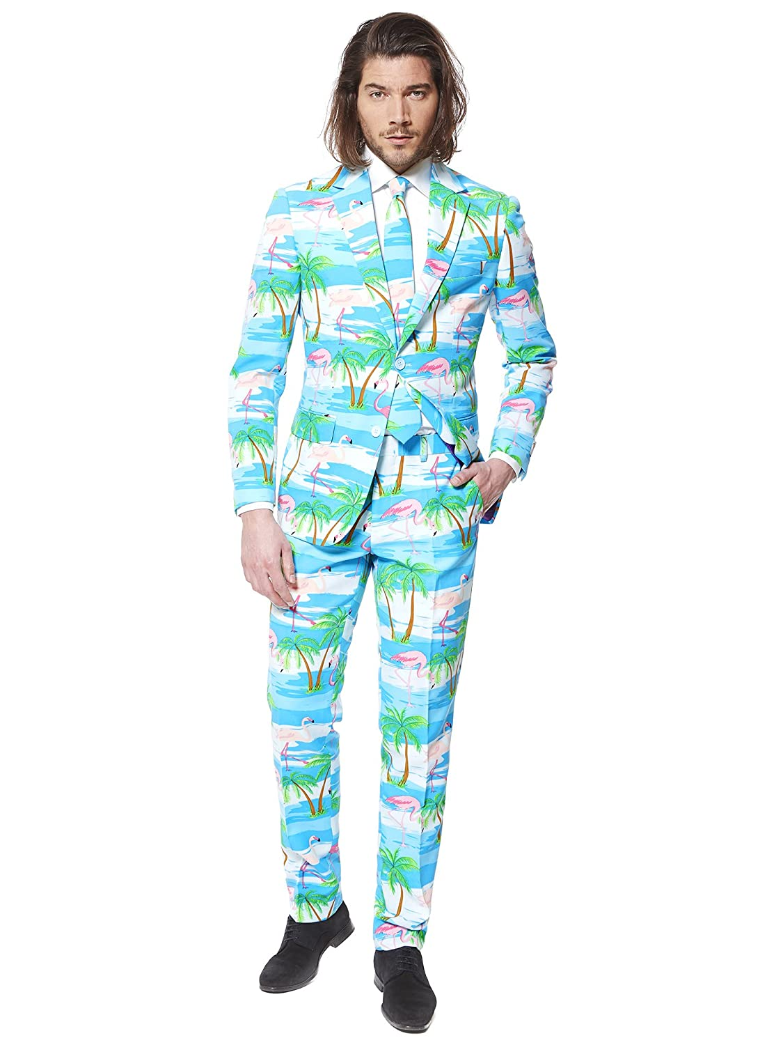 ... Flaminguy Suit for Men Comes with Jacket, Pants and Tie in Funny Flamingos and Palm Trees Print - 100% Money Back Guarantee: Amazon.co.uk: Clothing
