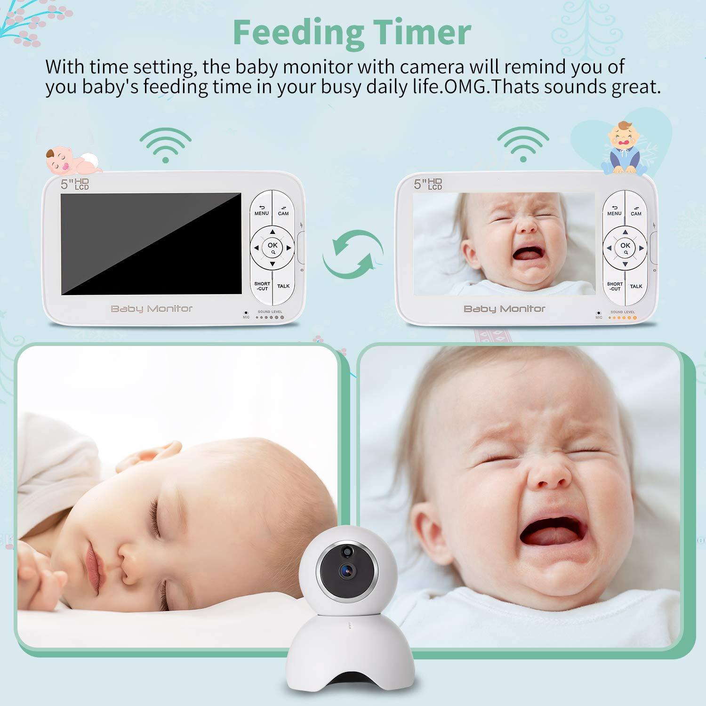 720P Video,Nachtsicht Schlafied,ohne Wlan,2 Wege Audio,bis zu 300m Reichweite Babyphone mit Kamera,DCEMAY 5 zoll LCD Baby Monitor,HD Temperature und Akustischer Alarm