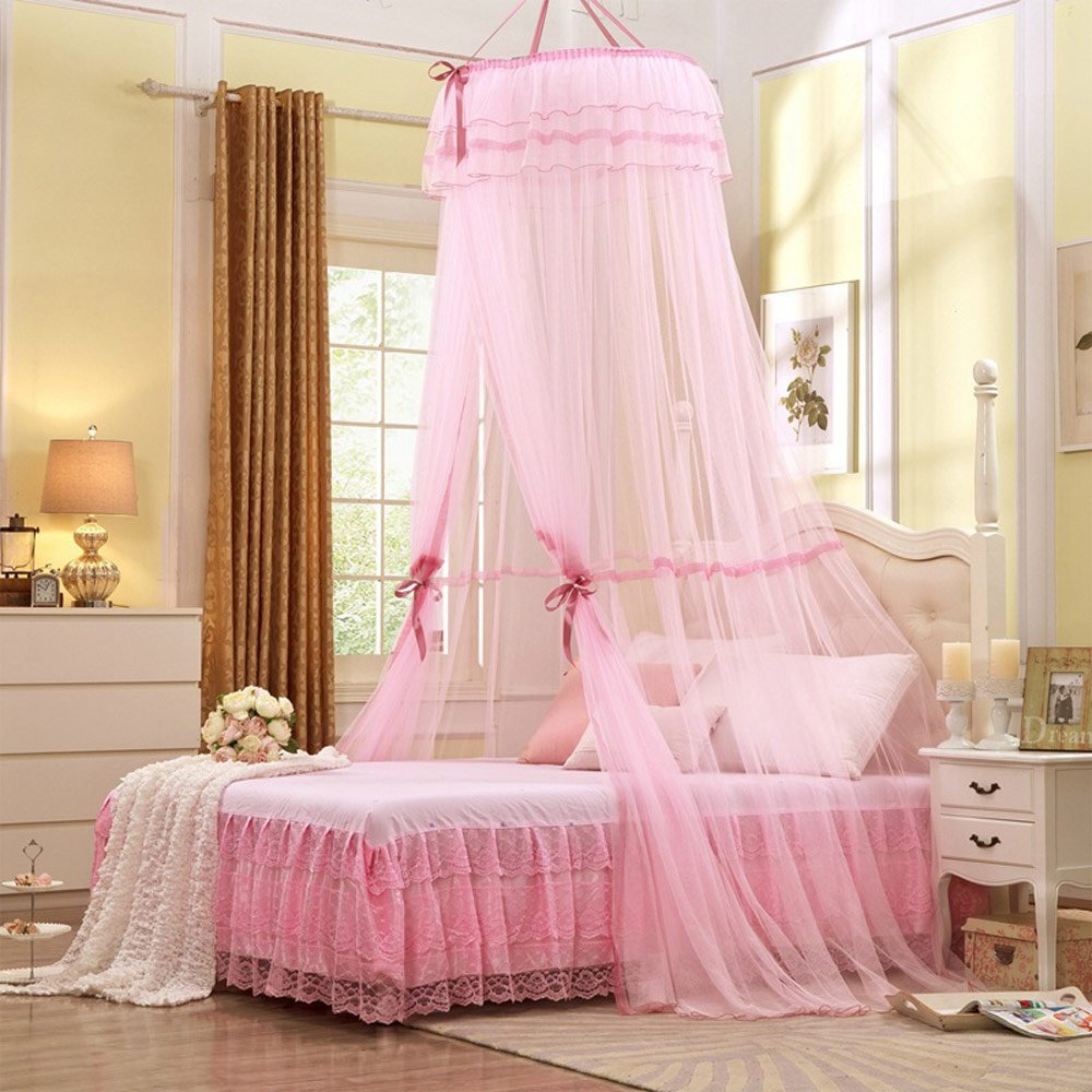 RuiHome Round Lace Bed Canopy Princess Mosquito Net for Crib Twin Full Queen Bedroom Decor (Pink)