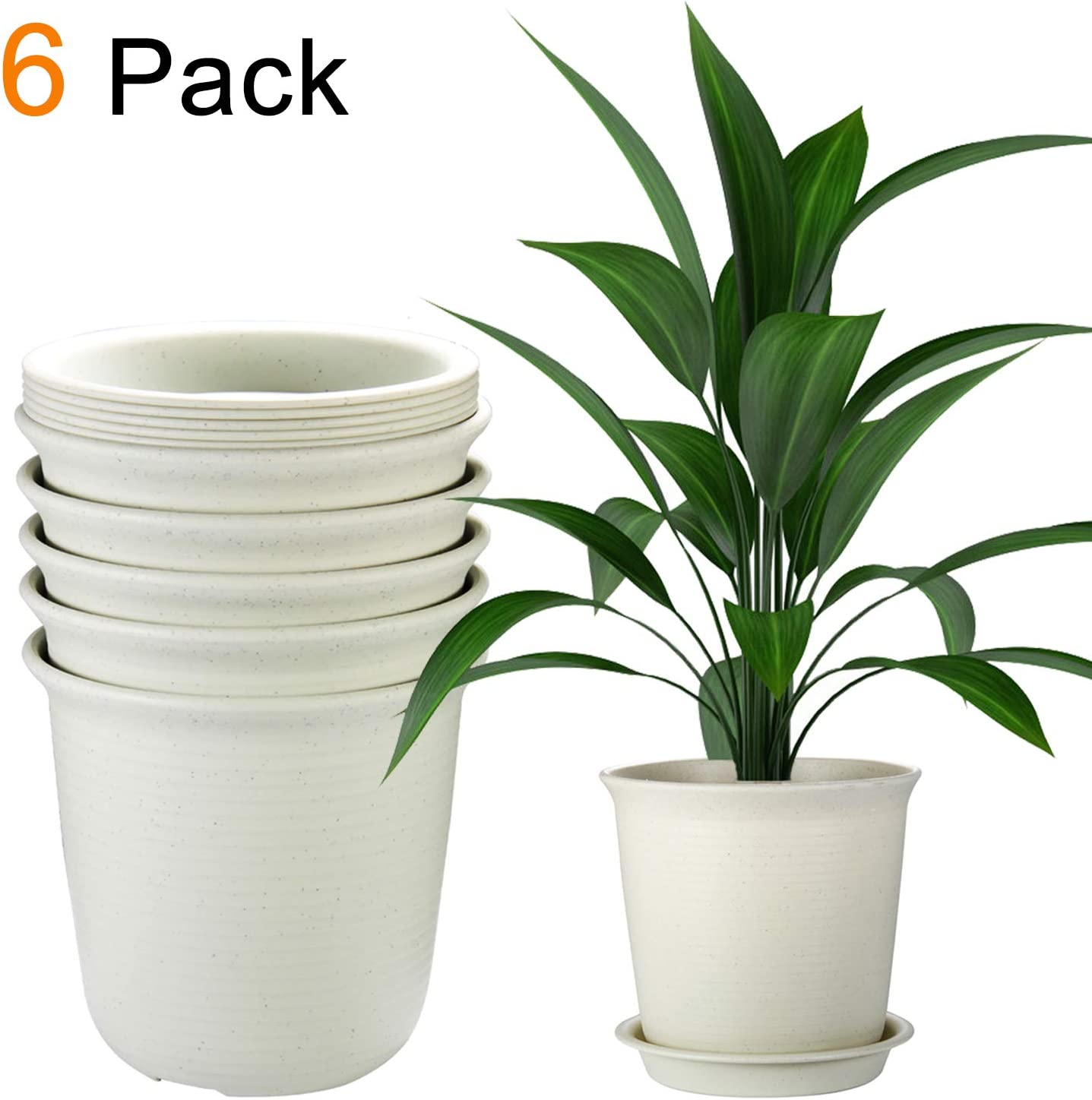 Flower Stand Moden Decor Planters for Bedroom Yard 8 Pack Indoor Plant Pots with Drainage and Tray EHWINE 7.2 Inch Plastic Flower Pots Beige Study