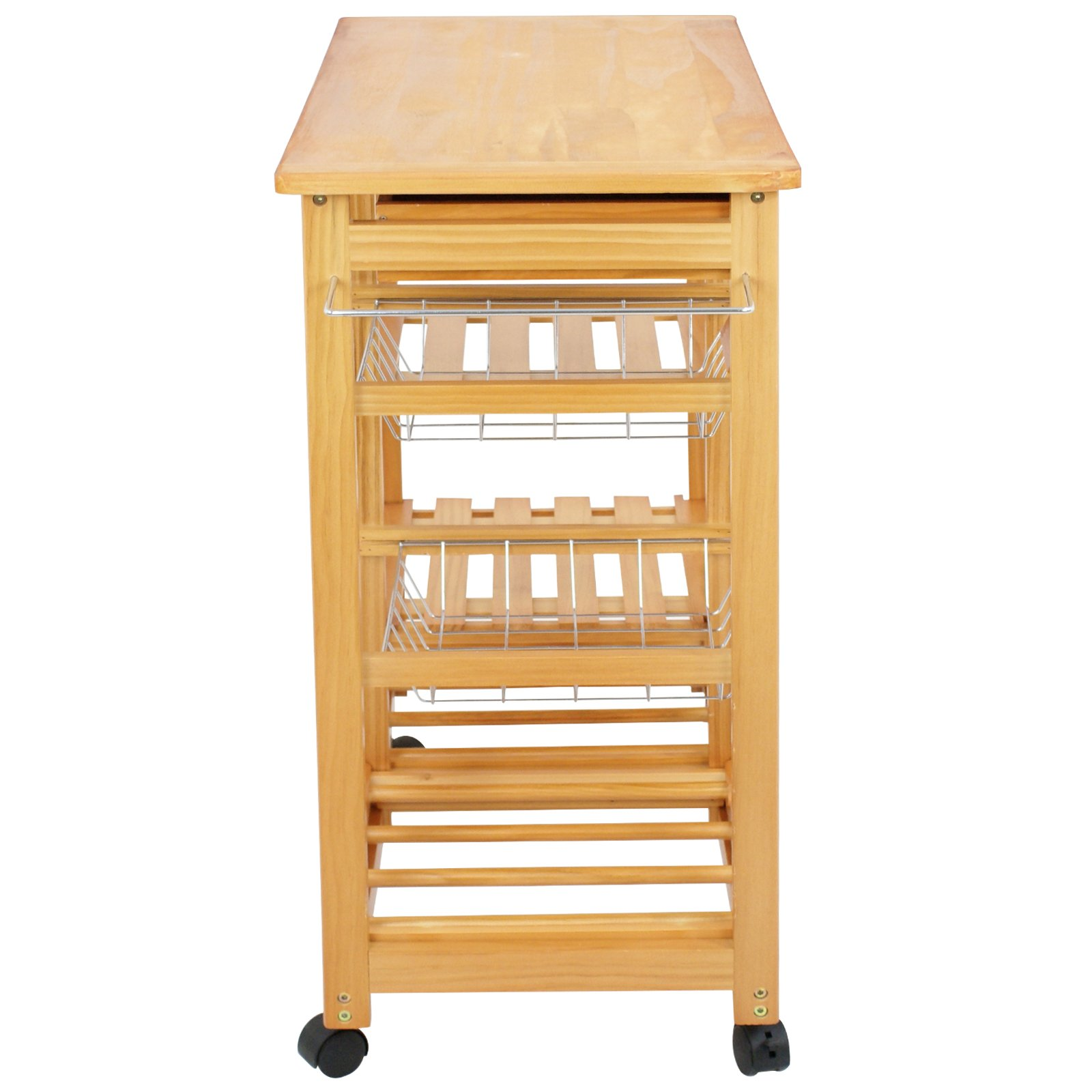 SUPER DEAL Multi-Purpose Wood Rolling Kitchen Island Trolley w/Drawer Shelves Basket by SUPER DEAL (Image #7)