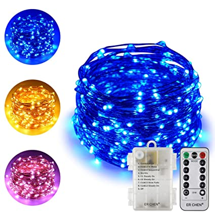 Erchen Battery Operated Dual Color Led String Lights 66ft 200 Leds Color Changing Dimmable 8 Modes Copper Wire Fairy Lights With Remote Timer For