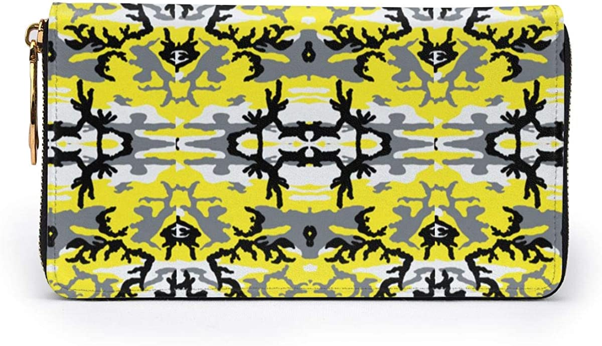 Woodland Yellow Camo Wallets For Men Women Long Leather Checkbook Card Holder Purse Zipper Buckle Elegant Clutch Ladies Coin Purse