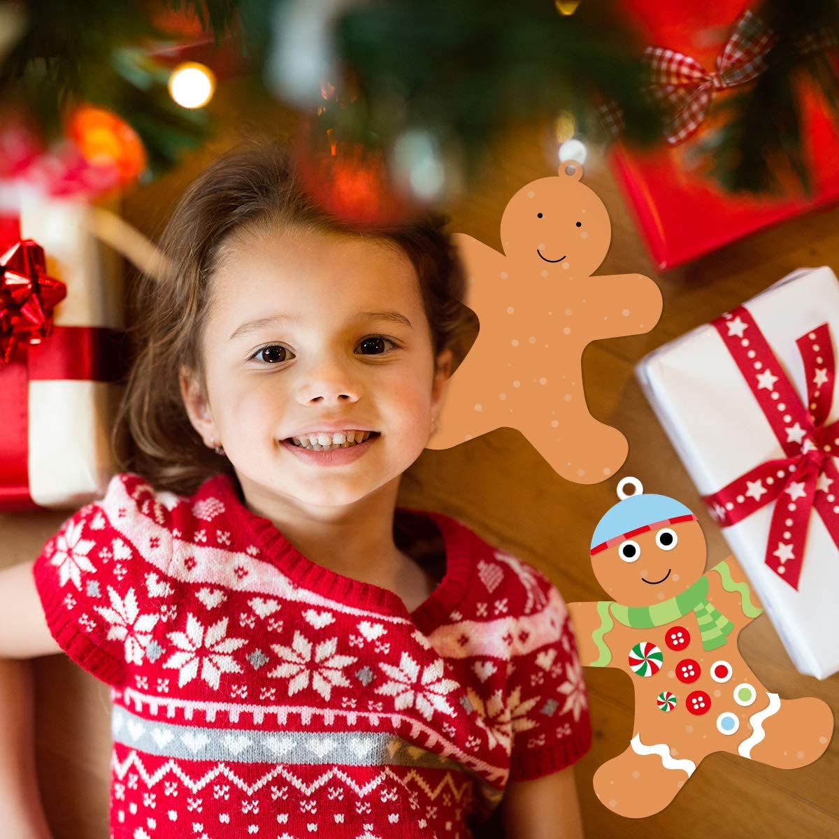 12 Gingerbread Man Craft Kit for Kids DIY Create Your Own Foam Gingerbread Man Ornament Self-Adhesive Sticker Sheets Fun Holiday Gifts