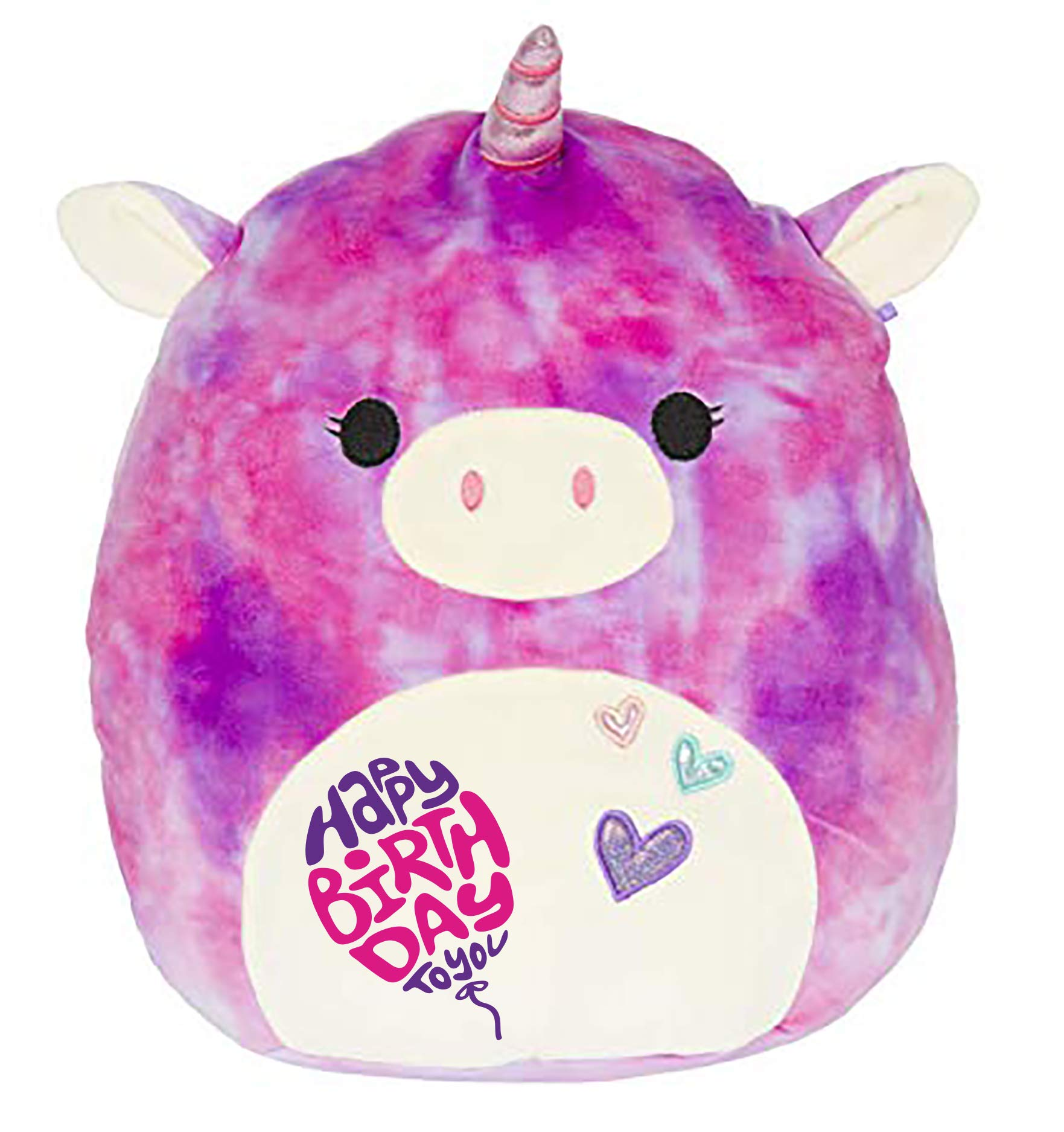 Limited Edition! Happy Birthday Squishmallow Pre-Customized for Birthday Original Kellytoy 13'' Super Soft Plush Stuffed Animal Pillow (Tie Dye Unicorn)