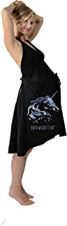 product image for Pretty Pushers Unicorn Cotton Jersey Labor Gown One Size (2-16 pre-pregnancy) Black