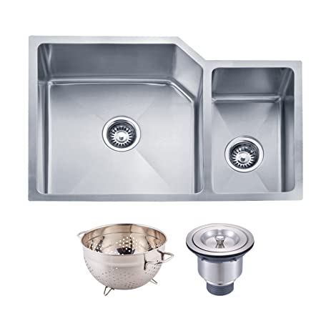 dax handmade 70 30 double bowl undermount kitchen sink 16 gauge stainless steel dax handmade 70 30 double bowl undermount kitchen sink 16 gauge      rh   amazon com