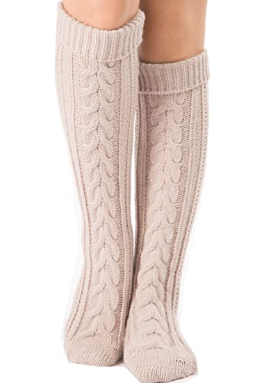 Eastlife Womens Winter Cable Knit Boot Socks Knee High Slouchy