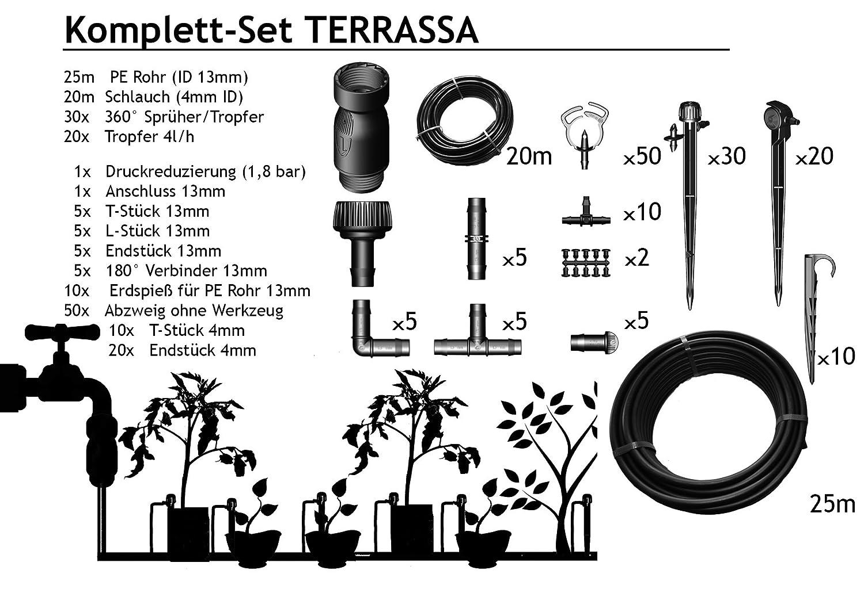 TERRASSA - Bewässerung für 40 - 60 Pflanzen im Komplett-Set
