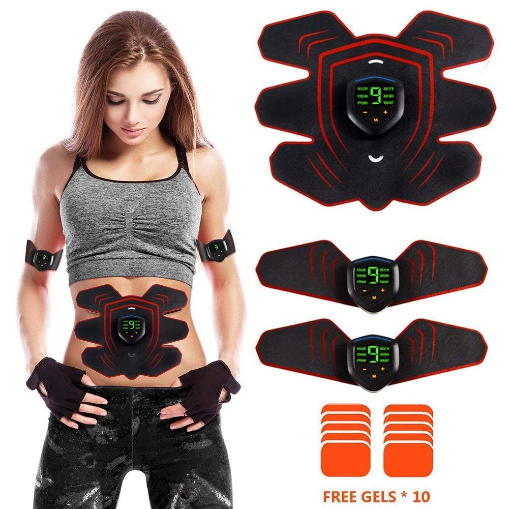 ABS Stimulator Muscle Toner Rechargeable, EMS Abdomen Muscle Trainer with 6 Modes 10 Levels, Muscle Toner Toning Belt for Men Women, Free 10pcs Gel Pads Included by Makoya (Image #1)