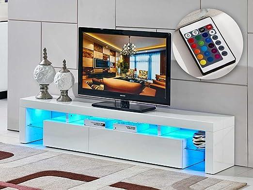 Mueble TV LED TINA - 188 x 34 x 38 cm - Blanco: Amazon.es: Jardín