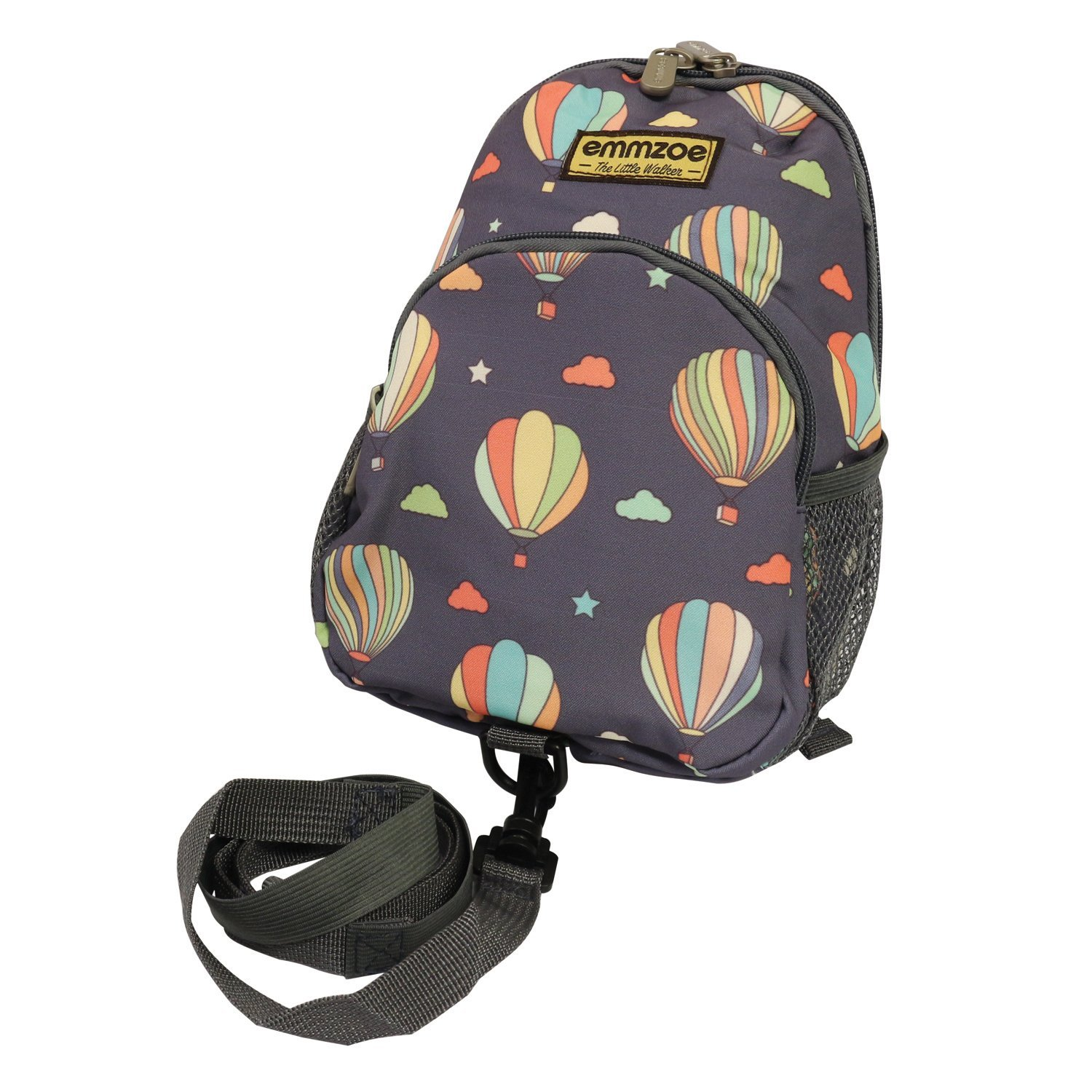 Emmzoe Little Walker Toddler Backpack with Detachable Safety Harness Leash - Lightweight Fits Snacks, Food, Toys (Pastel Hot Air Balloons)