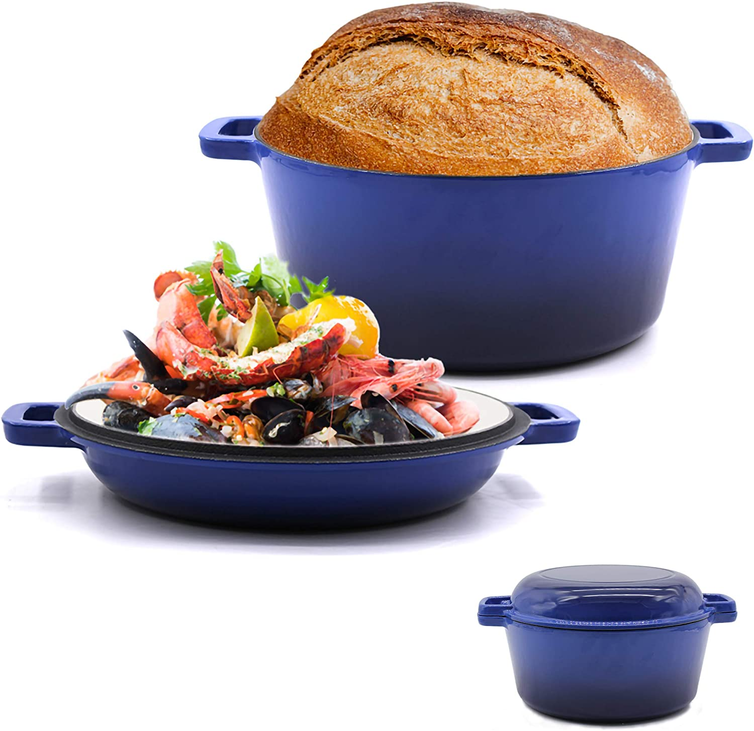 2-in-1 Enameled Cast Iron Multi Cooker, 5.5-Quart Dutch Oven with 10.5 Inch Skillet Lid Set,Use as Dutch Oven and Frying Pan,Marseille
